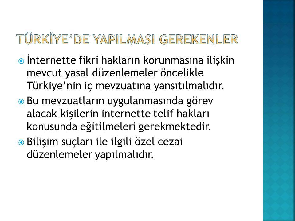 TÜRKİYE'DE YAPILMASI GEREKENLER