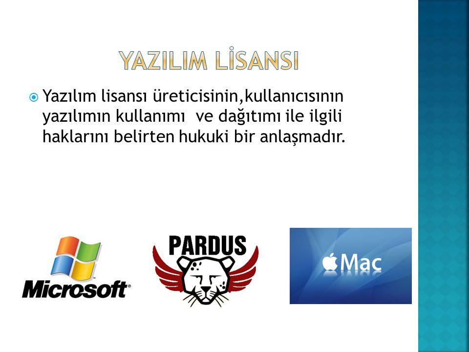 YAZILIM LİSANSI Yazılım lisansı üreticisinin,kullanıcısının yazılımın kullanımı ve dağıtımı ile ilgili haklarını belirten hukuki bir anlaşmadır.