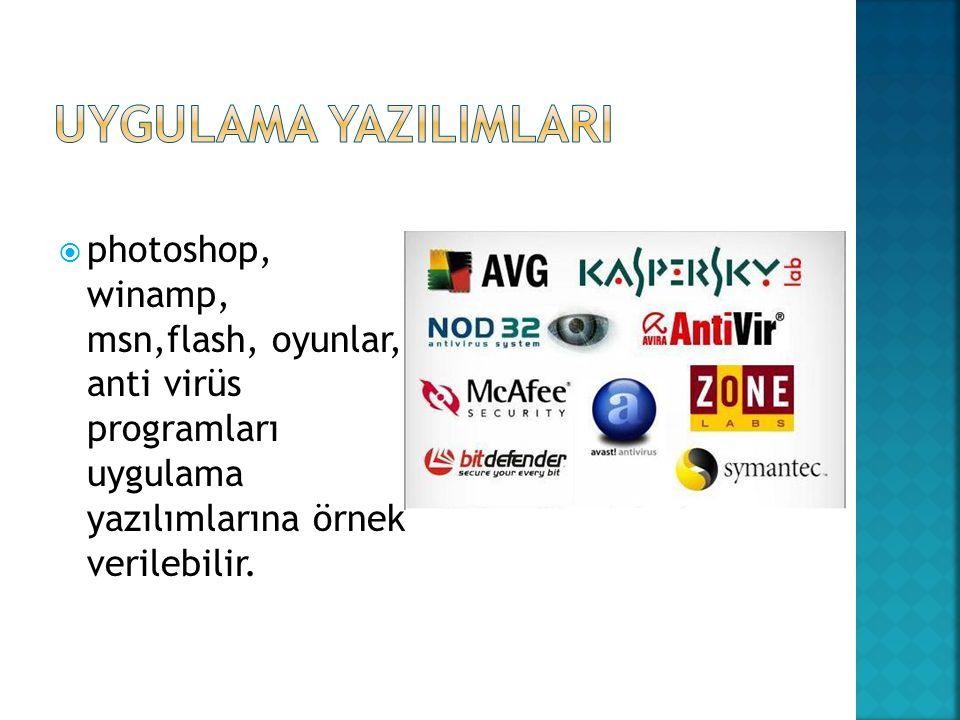 UYGULAMA YAZILIMLARI photoshop, winamp, msn,flash, oyunlar, anti virüs programları uygulama yazılımlarına örnek verilebilir.