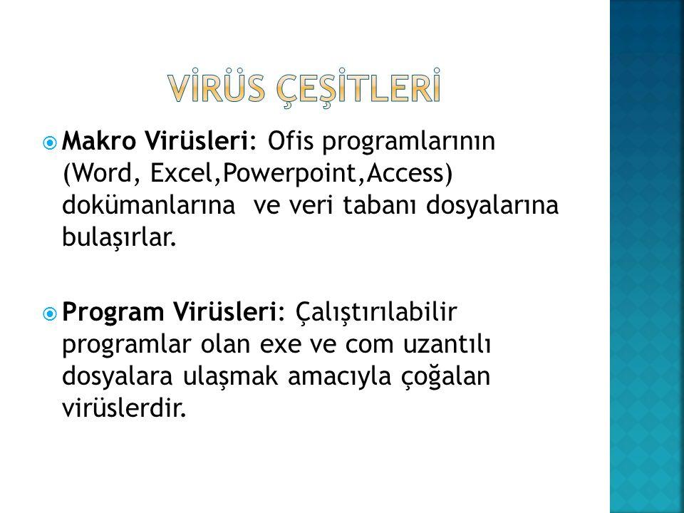 VİRÜS ÇEŞİTLERİ Makro Virüsleri: Ofis programlarının (Word, Excel,Powerpoint,Access) dokümanlarına ve veri tabanı dosyalarına bulaşırlar.
