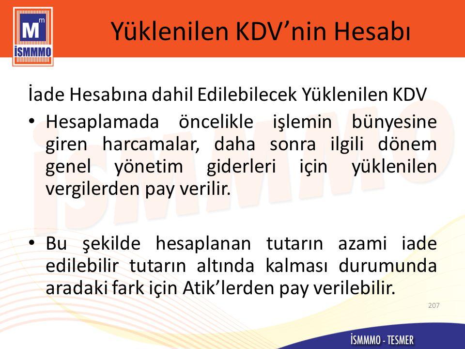 Yüklenilen KDV'nin Hesabı