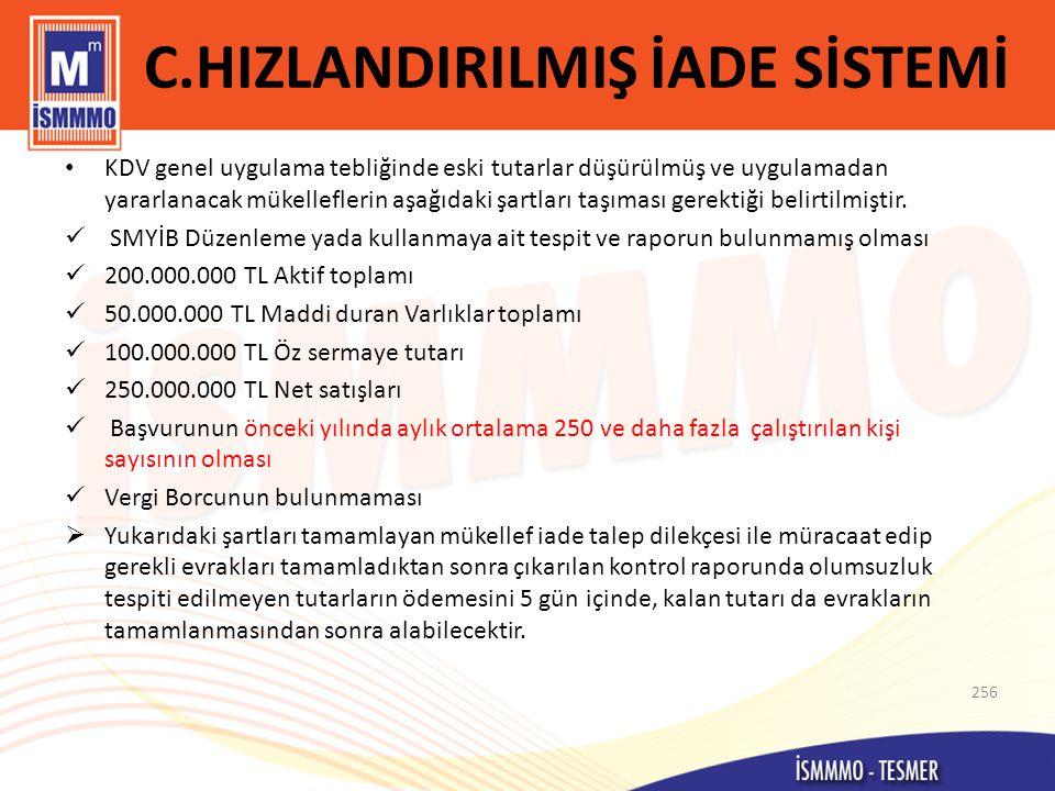 C.HIZLANDIRILMIŞ İADE SİSTEMİ