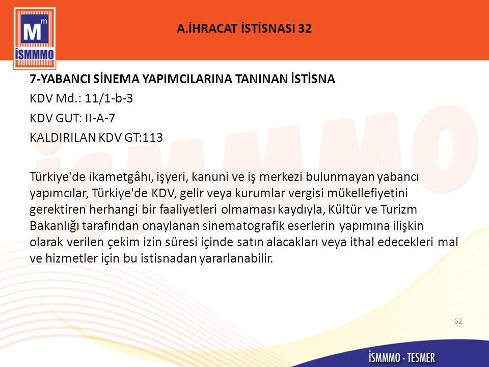 A.İHRACAT İSTİSNASI 32