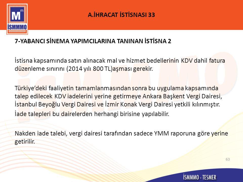 A.İHRACAT İSTİSNASI 33 7-YABANCI SİNEMA YAPIMCILARINA TANINAN İSTİSNA 2.
