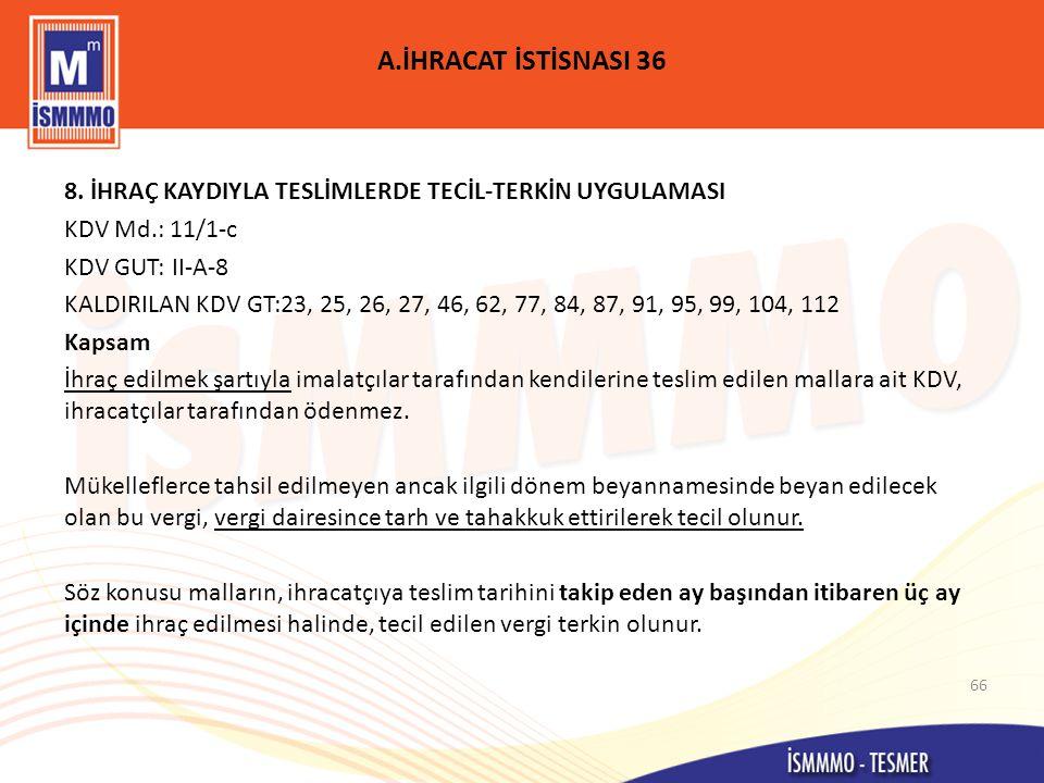 A.İHRACAT İSTİSNASI 36