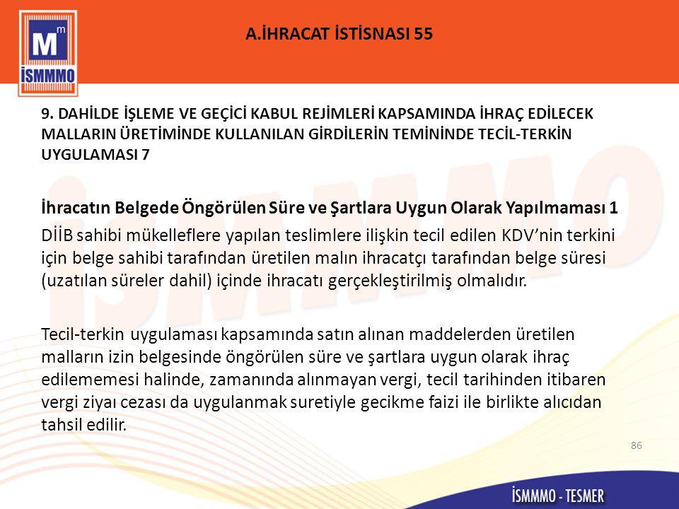 A.İHRACAT İSTİSNASI 55