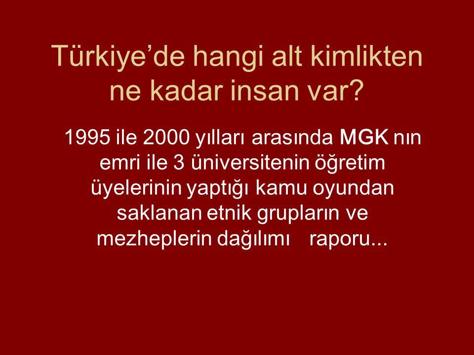 Türkiye'de hangi alt kimlikten ne kadar insan var