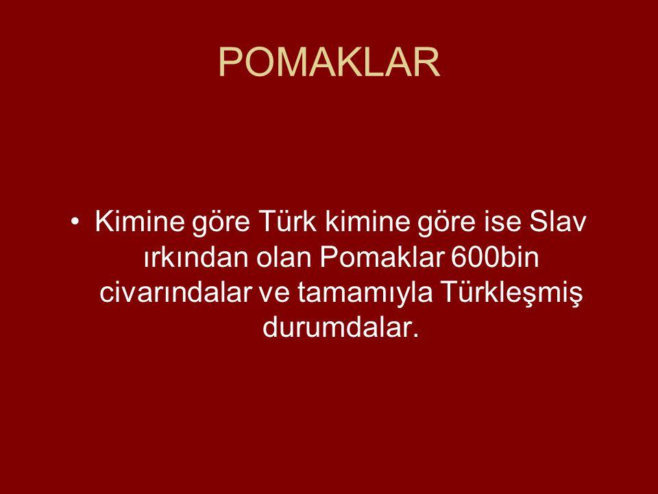 POMAKLAR Kimine göre Türk kimine göre ise Slav ırkından olan Pomaklar 600bin civarındalar ve tamamıyla Türkleşmiş durumdalar.