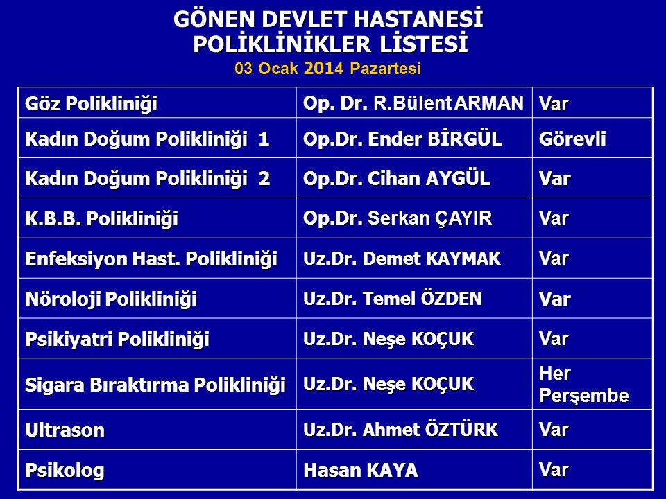 POLİKLİNİKLER LİSTESİ