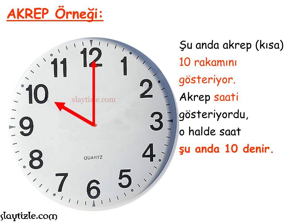 AKREP Örneği: Şu anda akrep (kısa) 10 rakamını gösteriyor.