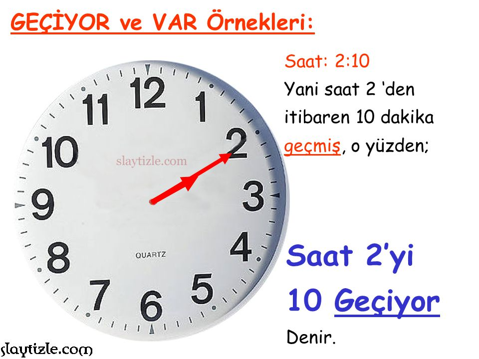 Saat 2'yi 10 Geçiyor GEÇİYOR ve VAR Örnekleri: Saat: 2:10