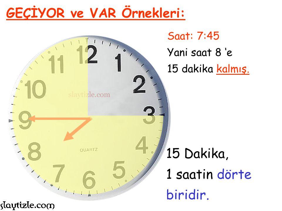 15 Dakika, 1 saatin dörte biridir. GEÇİYOR ve VAR Örnekleri: