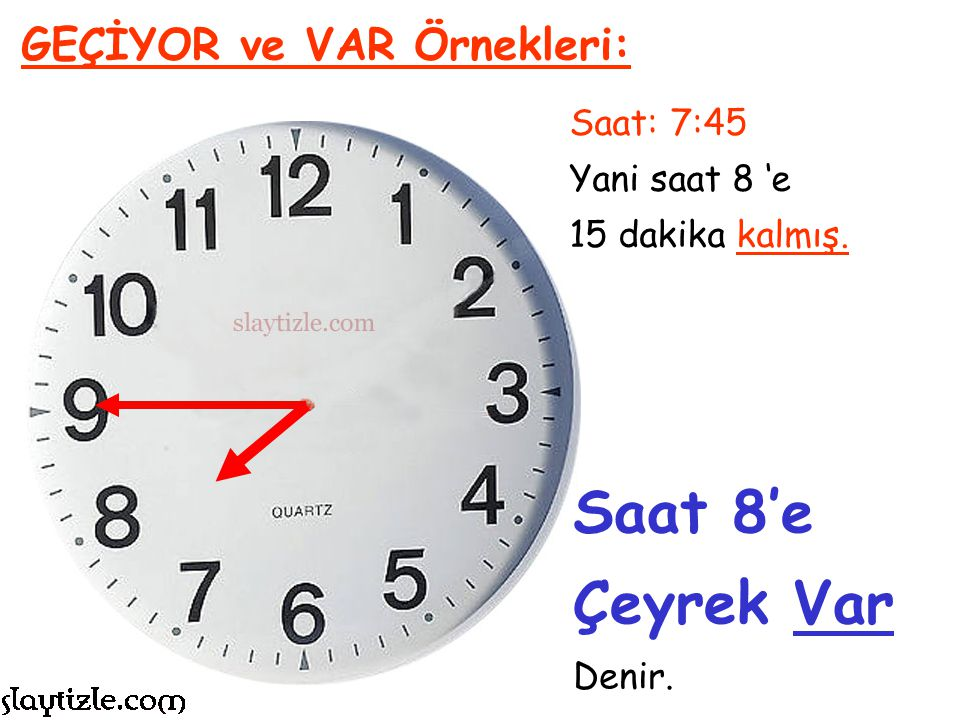 Saat 8'e Çeyrek Var GEÇİYOR ve VAR Örnekleri: Saat: 7:45