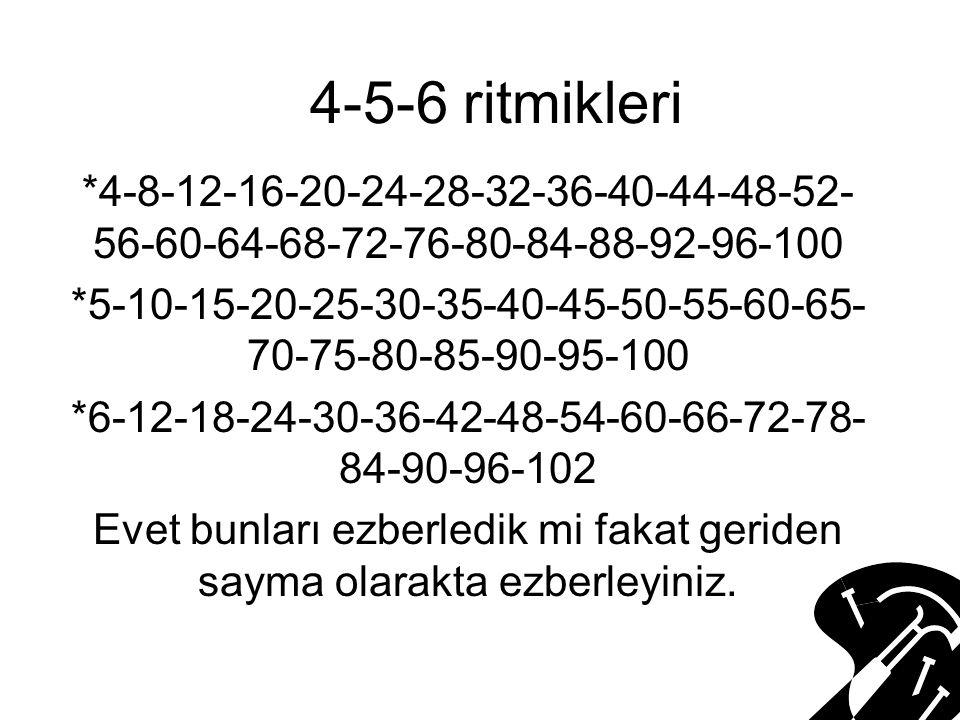 4-5-6 ritmikleri *4-8-12-16-20-24-28-32-36-40-44-48-52-56-60-64-68-72-76-80-84-88-92-96-100.