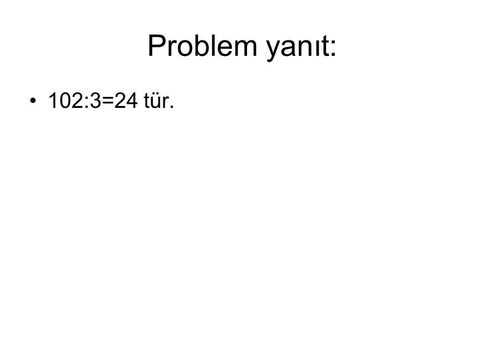 Problem yanıt: 102:3=24 tür.