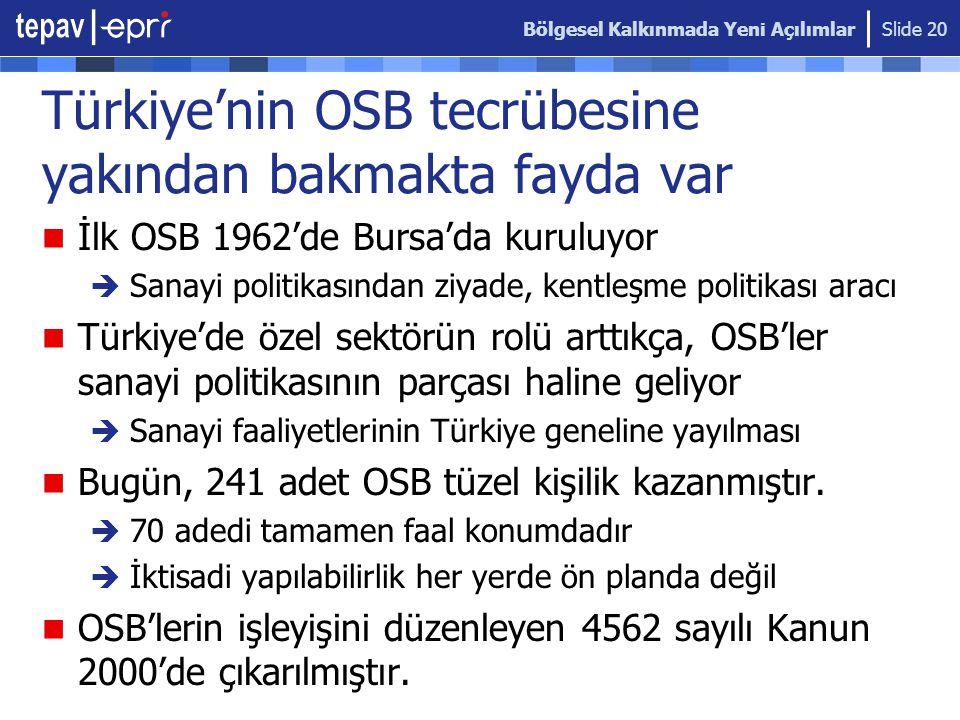 Türkiye'nin OSB tecrübesine yakından bakmakta fayda var