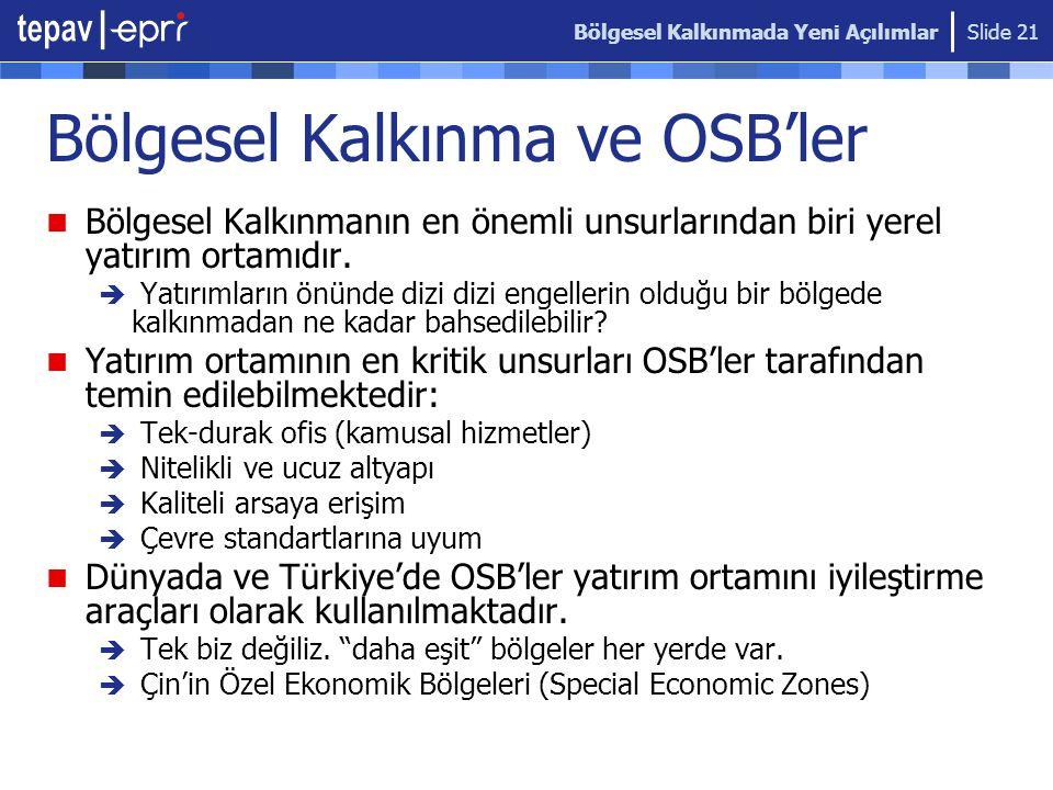 Bölgesel Kalkınma ve OSB'ler