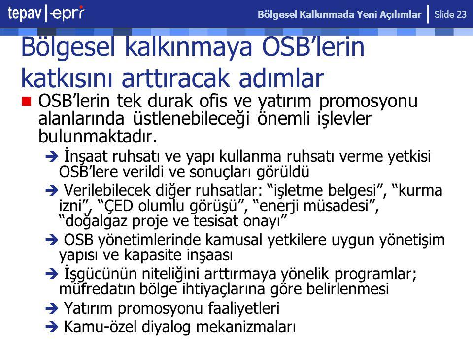 Bölgesel kalkınmaya OSB'lerin katkısını arttıracak adımlar