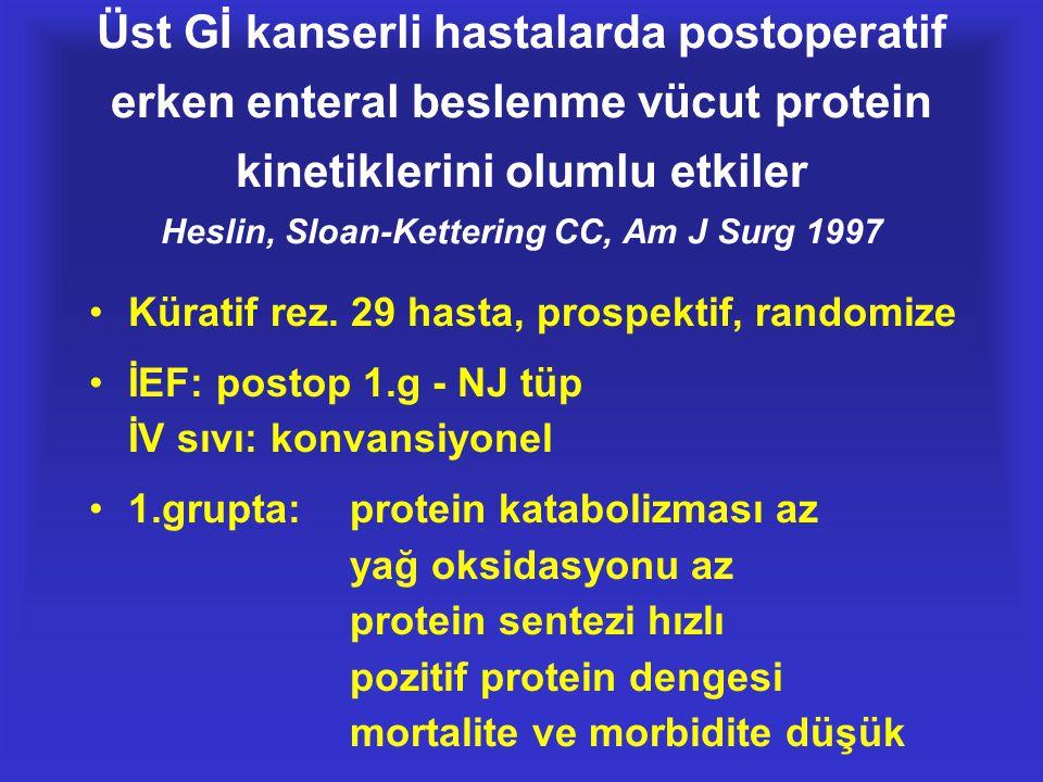 Üst Gİ kanserli hastalarda postoperatif erken enteral beslenme vücut protein kinetiklerini olumlu etkiler Heslin, Sloan-Kettering CC, Am J Surg 1997