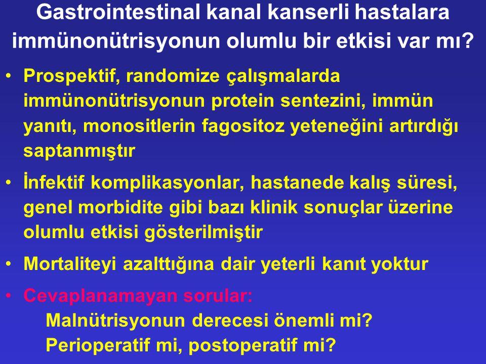 Gastrointestinal kanal kanserli hastalara immünonütrisyonun olumlu bir etkisi var mı