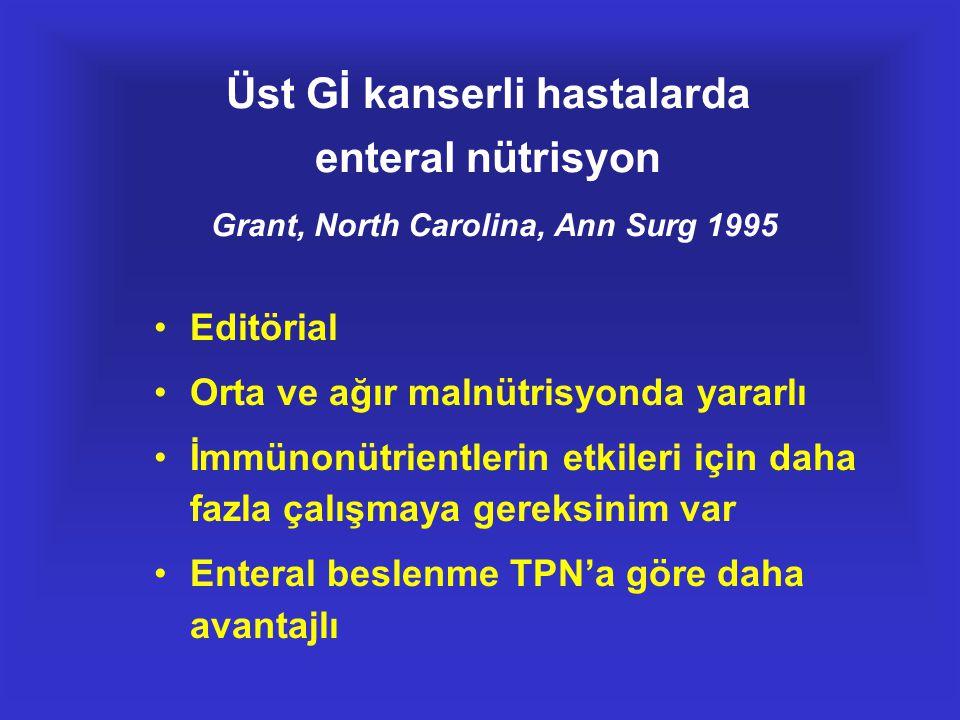Üst Gİ kanserli hastalarda enteral nütrisyon Grant, North Carolina, Ann Surg 1995