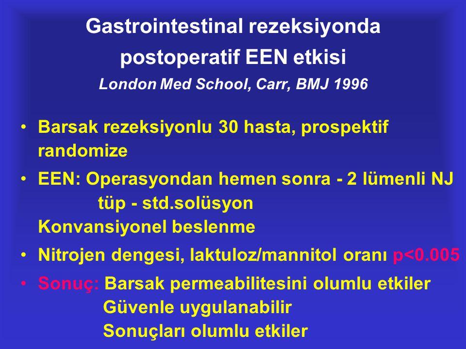 Gastrointestinal rezeksiyonda postoperatif EEN etkisi London Med School, Carr, BMJ 1996