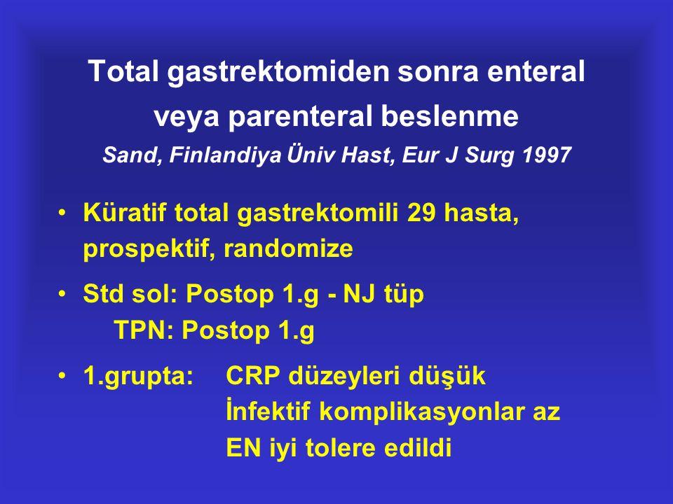 Total gastrektomiden sonra enteral veya parenteral beslenme Sand, Finlandiya Üniv Hast, Eur J Surg 1997
