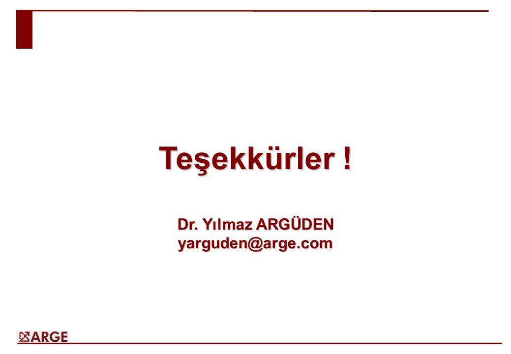 Teşekkürler ! Dr. Yılmaz ARGÜDEN yarguden@arge.com