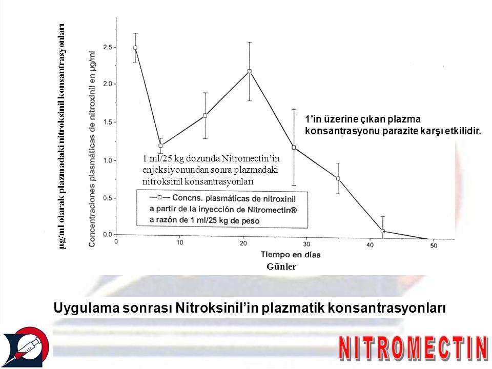 Uygulama sonrası Nitroksinil'in plazmatik konsantrasyonları