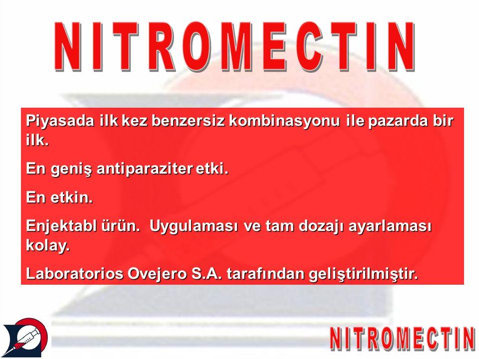 NITROMECTIN Piyasada ilk kez benzersiz kombinasyonu ile pazarda bir ilk. En geniş antiparaziter etki.