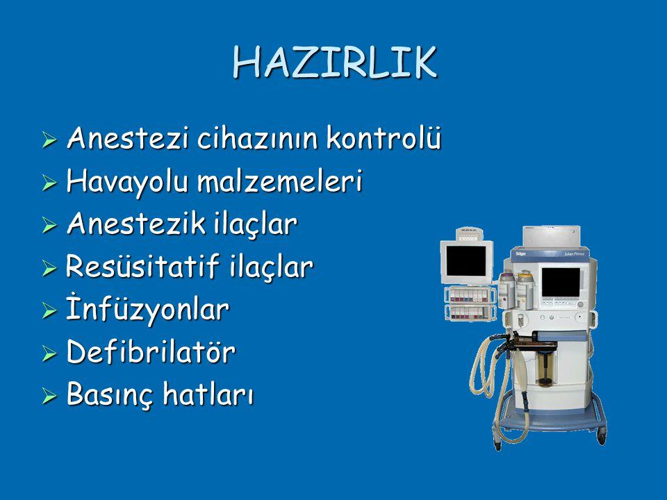 HAZIRLIK Anestezi cihazının kontrolü Havayolu malzemeleri