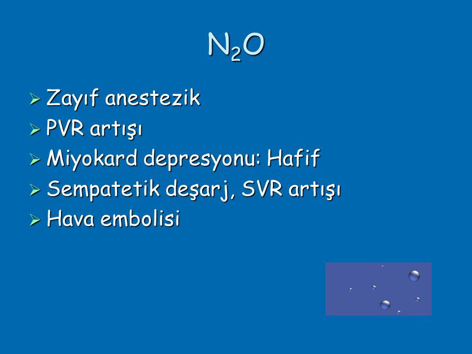 N2O Zayıf anestezik PVR artışı Miyokard depresyonu: Hafif