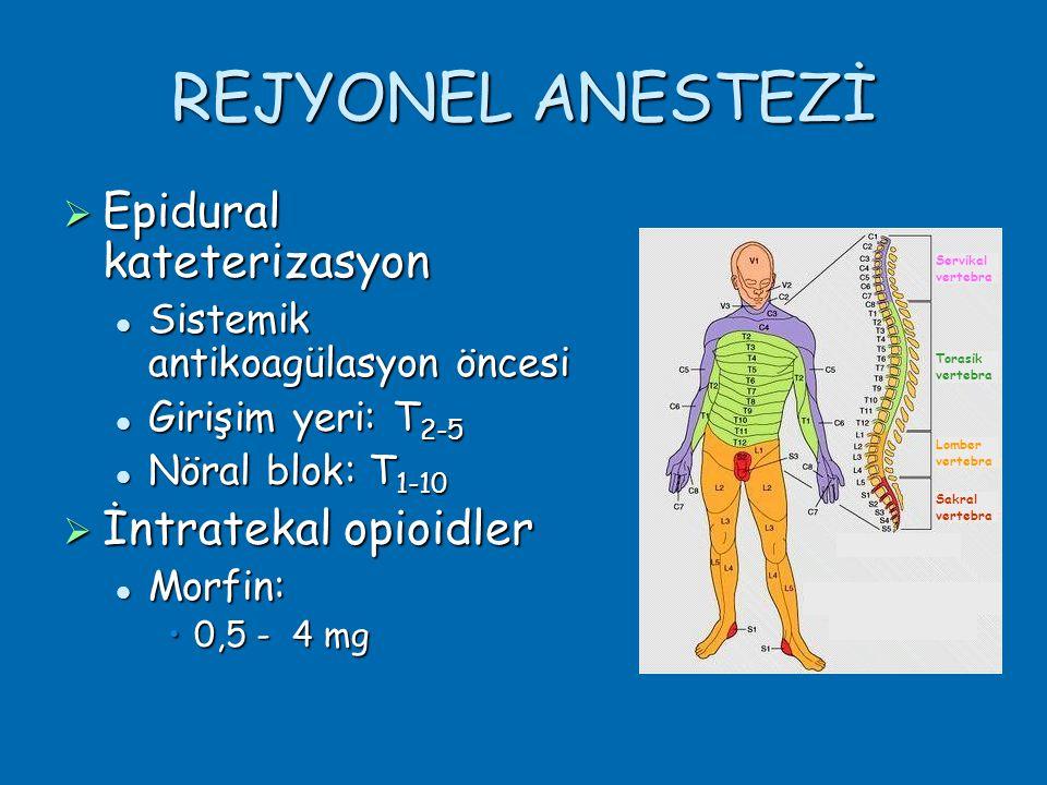 REJYONEL ANESTEZİ Epidural kateterizasyon İntratekal opioidler