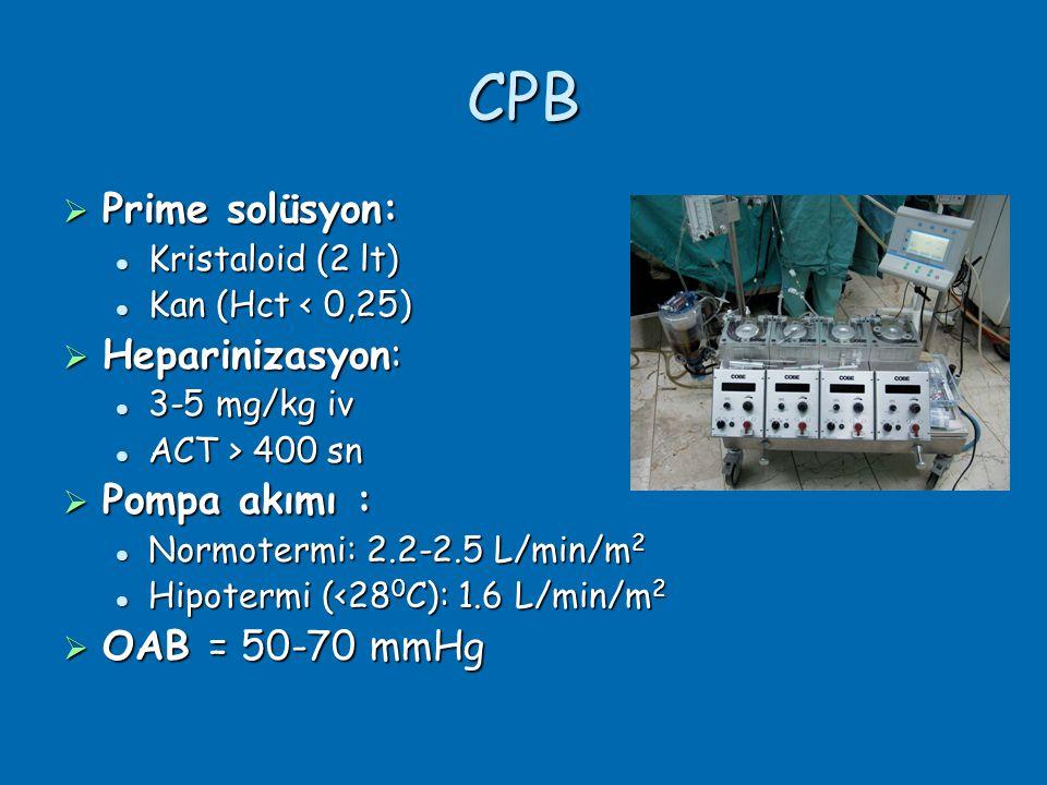 CPB Prime solüsyon: Heparinizasyon: Pompa akımı : OAB = 50-70 mmHg
