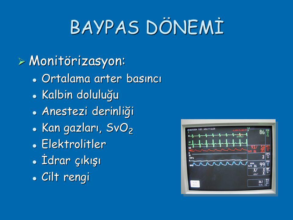 BAYPAS DÖNEMİ Monitörizasyon: Ortalama arter basıncı Kalbin doluluğu