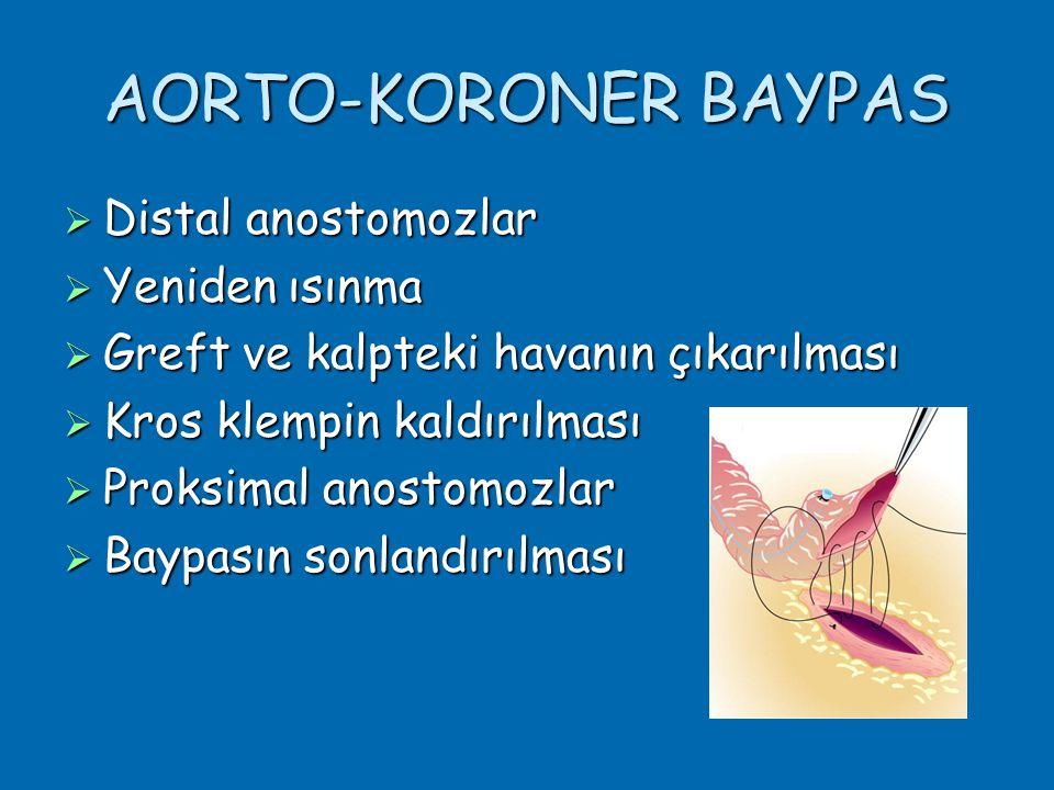 AORTO-KORONER BAYPAS Distal anostomozlar Yeniden ısınma