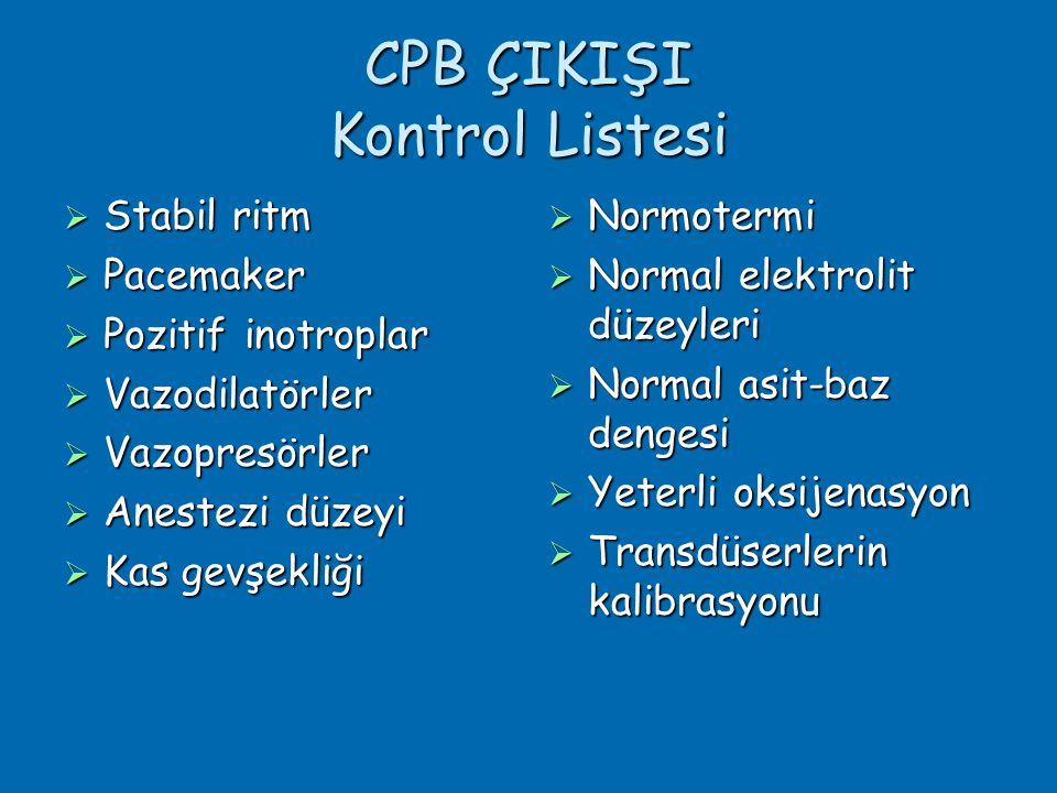 CPB ÇIKIŞI Kontrol Listesi