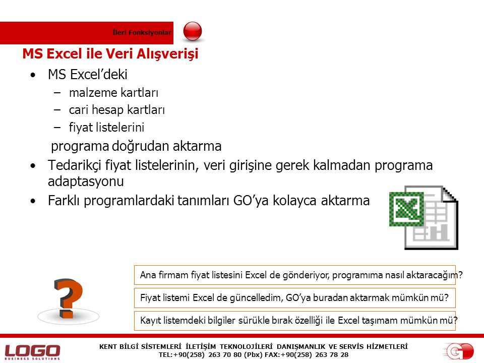 MS Excel ile Veri Alışverişi