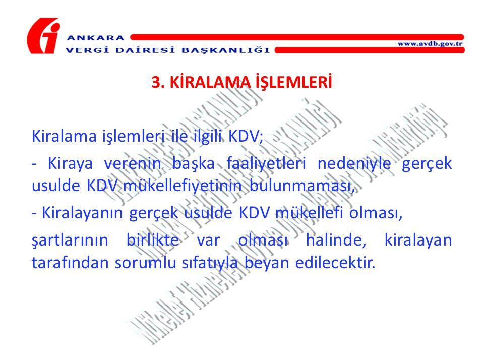 Kiralama işlemleri ile ilgili KDV;