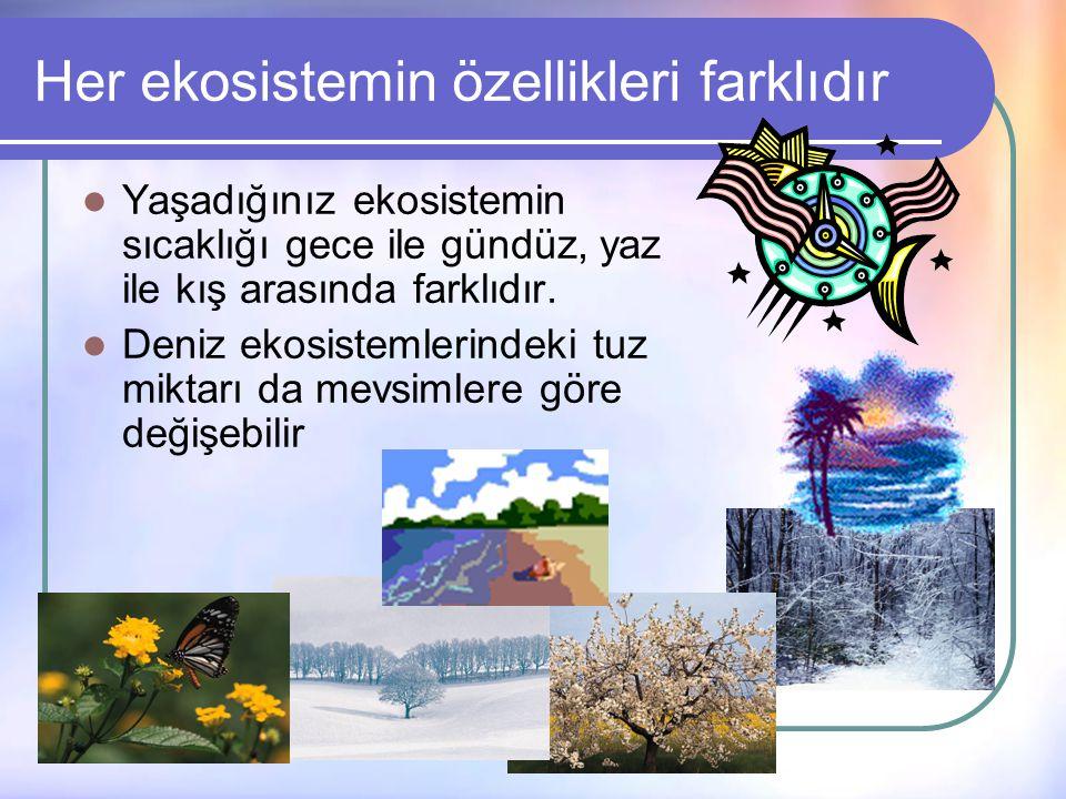 Her ekosistemin özellikleri farklıdır