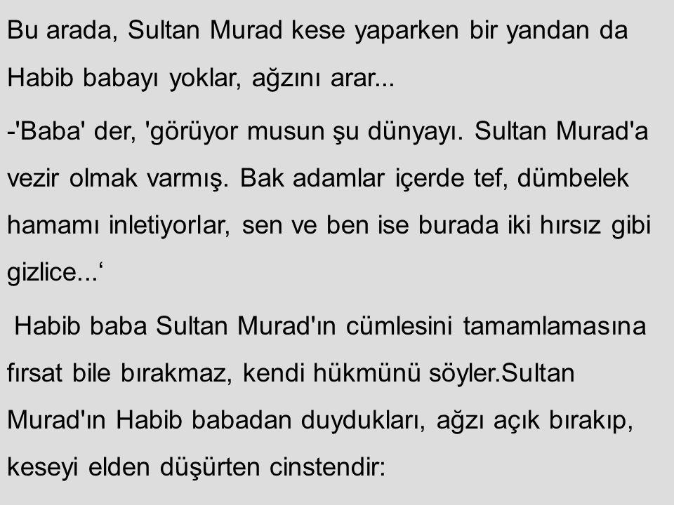 Bu arada, Sultan Murad kese yaparken bir yandan da Habib babayı yoklar, ağzını arar...