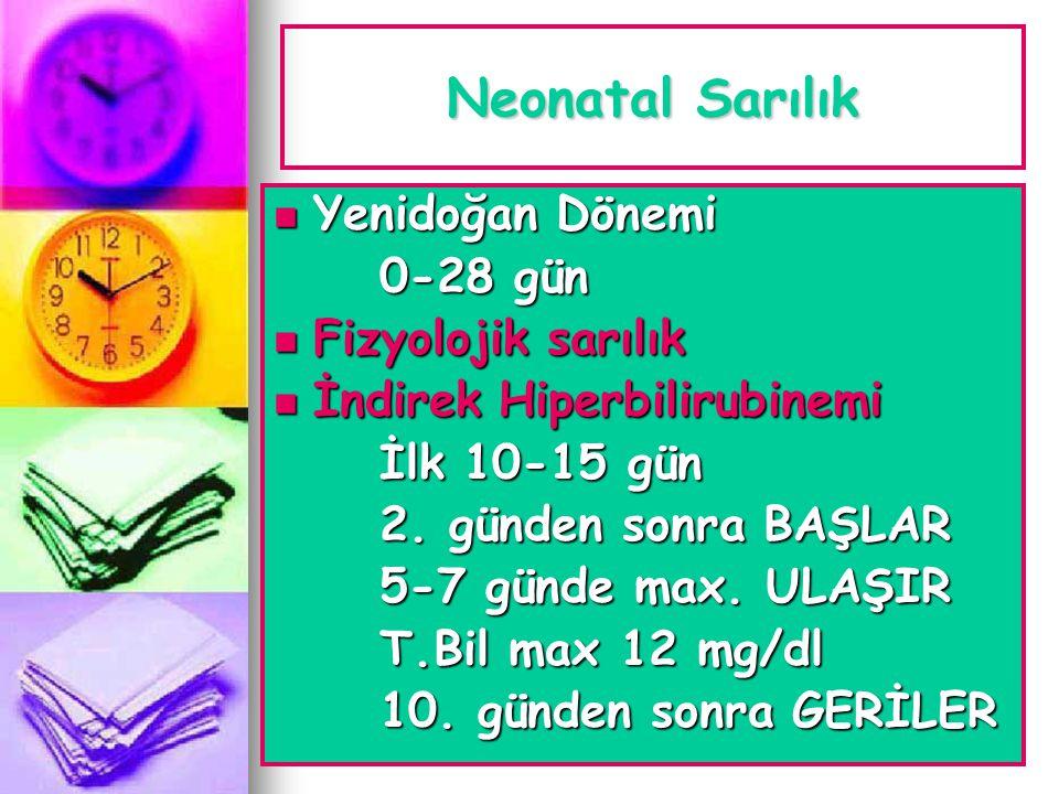 Neonatal Sarılık Yenidoğan Dönemi 0-28 gün Fizyolojik sarılık