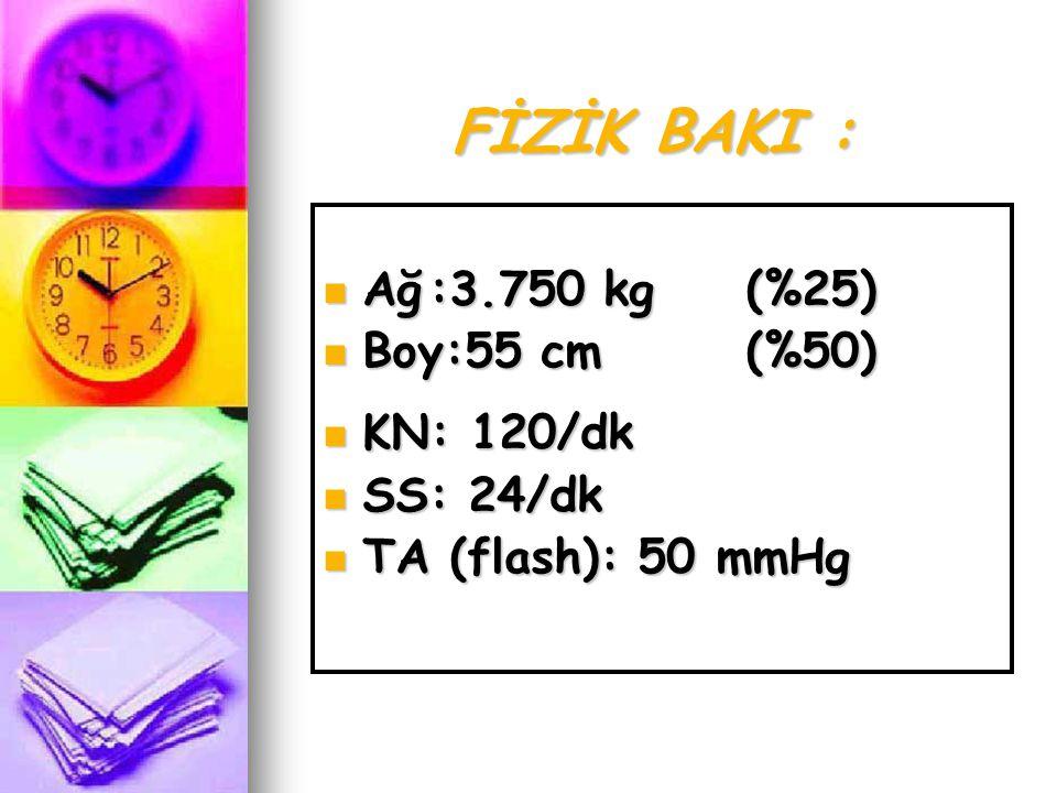 FİZİK BAKI : Ağ :3.750 kg (%25) Boy:55 cm (%50) KN: 120/dk SS: 24/dk