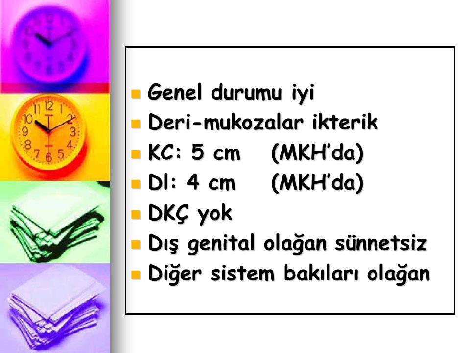 Genel durumu iyi Deri-mukozalar ikterik. KC: 5 cm (MKH'da) Dl: 4 cm (MKH'da) DKÇ yok. Dış genital olağan sünnetsiz.
