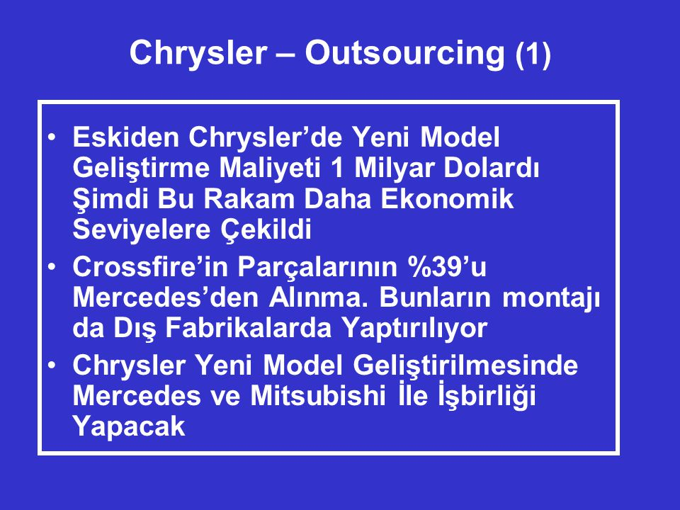 Chrysler – Outsourcing (1)