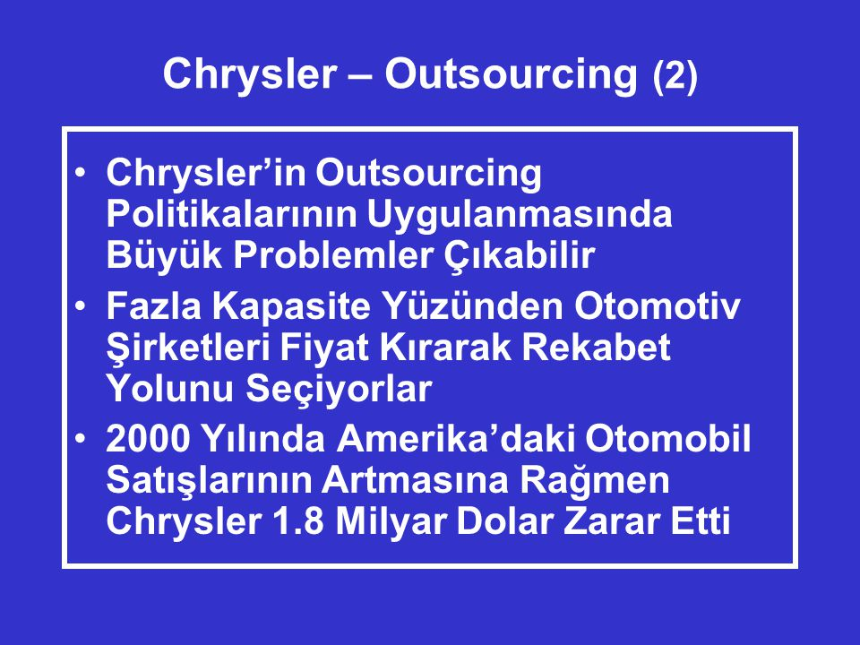 Chrysler – Outsourcing (2)