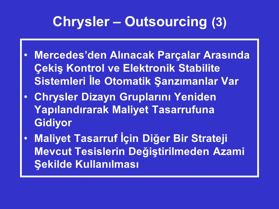 Chrysler – Outsourcing (3)