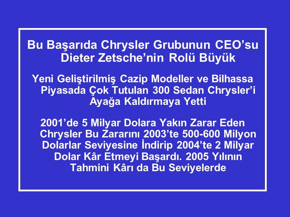 Bu Başarıda Chrysler Grubunun CEO'su Dieter Zetsche'nin Rolü Büyük