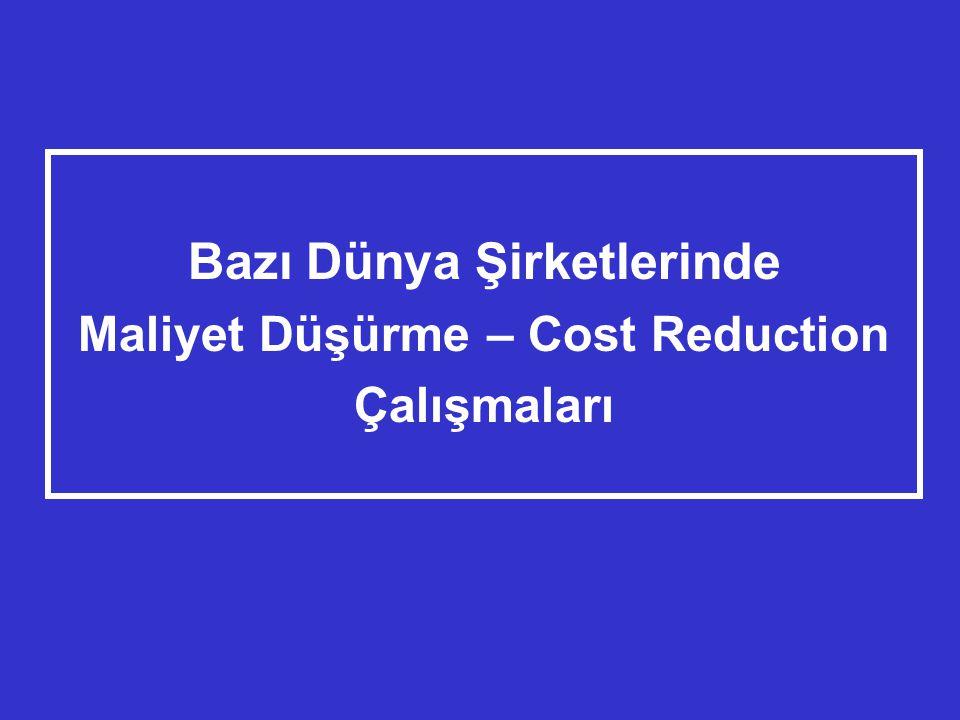 Bazı Dünya Şirketlerinde Maliyet Düşürme – Cost Reduction