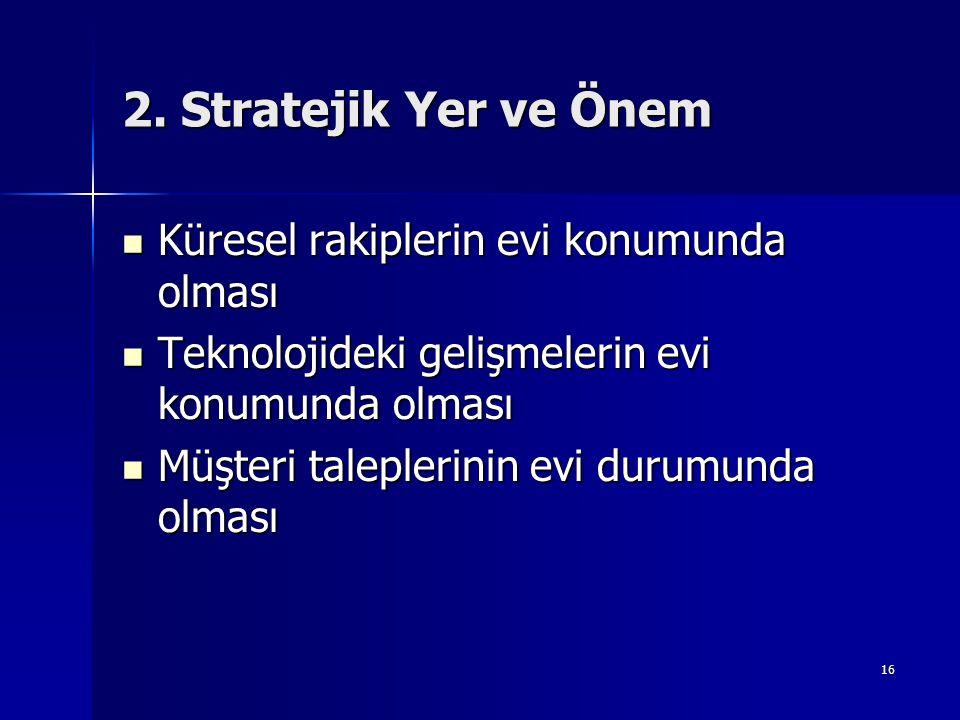 2. Stratejik Yer ve Önem Küresel rakiplerin evi konumunda olması
